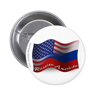 Russian-American Waving Flags Pinback Button