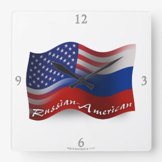 Russian-American Waving Flags Square Wall Clock