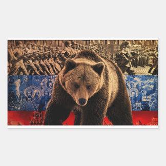 Russian Bear Rectangular Sticker