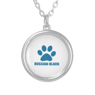 RUSSIAN BLACK CAT DESIGNS SILVER PLATED NECKLACE