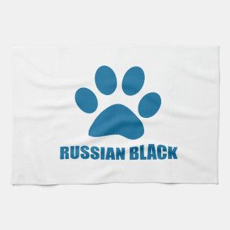 RUSSIAN BLACK CAT DESIGNS TEA TOWEL