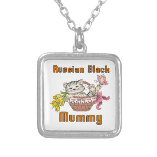 Russian Black Cat Mom Silver Plated Necklace