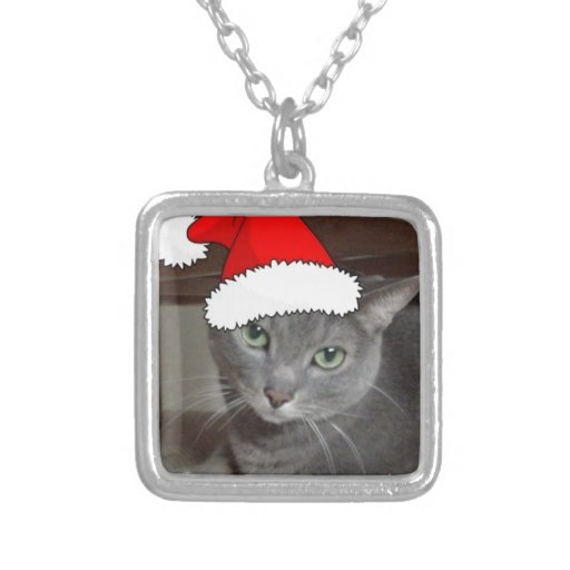 Russian Blue Cat Christmas Necklaces