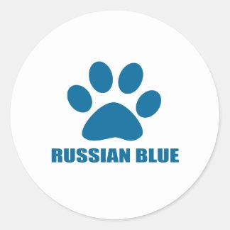 RUSSIAN BLUE CAT DESIGNS CLASSIC ROUND STICKER