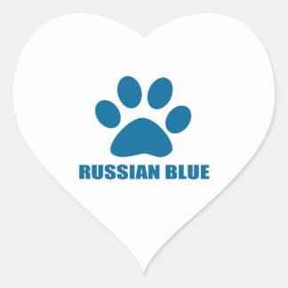 RUSSIAN BLUE CAT DESIGNS HEART STICKER