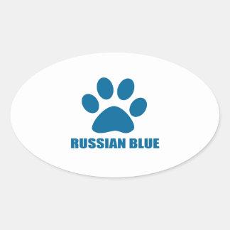 RUSSIAN BLUE CAT DESIGNS OVAL STICKER