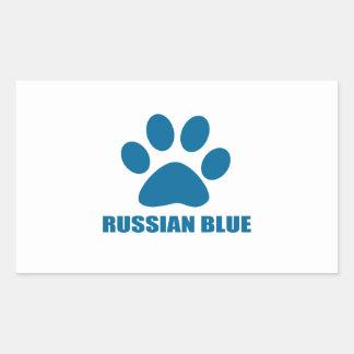 RUSSIAN BLUE CAT DESIGNS RECTANGULAR STICKER
