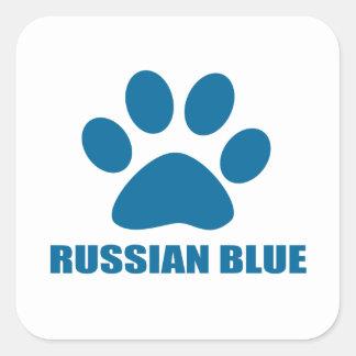 RUSSIAN BLUE CAT DESIGNS SQUARE STICKER