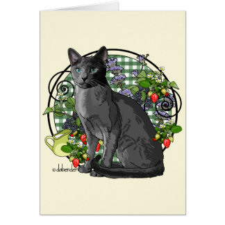Russian Blue cat with Berries Card