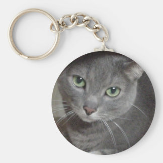 Russian Blue Gray Cat Basic Round Button Key Ring