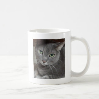 Russian Blue Gray Cat Basic White Mug