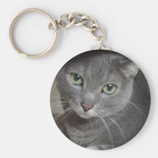 Russian Blue Gray Cat Keychain