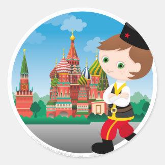 Russian boy round sticker
