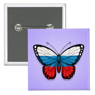 Russian Butterfly Flag on Purple Button