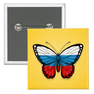 Russian Butterfly Flag on Yellow Pin