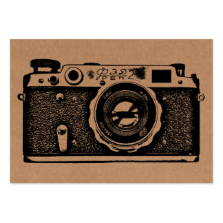 Russian Camera - Black on Cardboard Tex Large Business Cards (Pack Of 100)