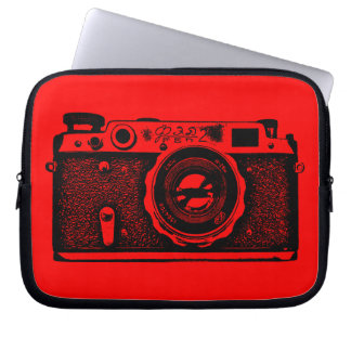 Russian Camera - Black on Red Laptop Sleeve