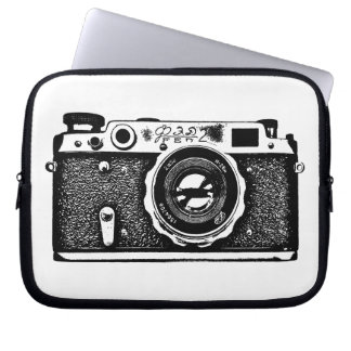 Russian Camera - Black on White Laptop Computer Sleeve