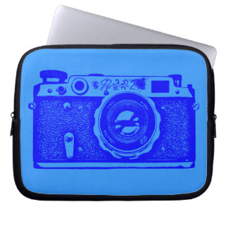 Russian Camera - Shades of Blue Laptop Computer Sleeves