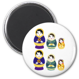 Russian christmas dolls 6 cm round magnet