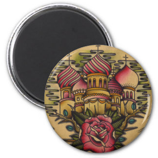 russian church 6 cm round magnet