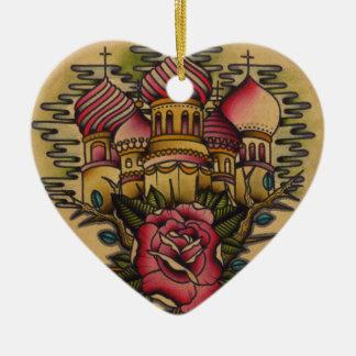 Russian Church Ceramic Heart Decoration