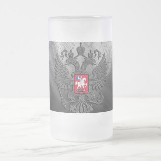 Russian coat arms frosted glass beer mug