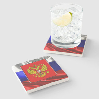 Russian Coat of arms Stone Beverage Coaster