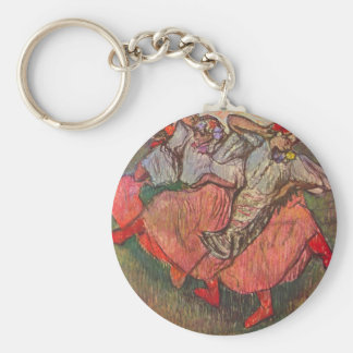 Russian Dancers by Edgar Degas, Vintage Fine Art Basic Round Button Key Ring