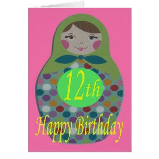 Russian Doll Happy 12th Birthday Card