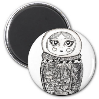 Russian Doll 6 Cm Round Magnet
