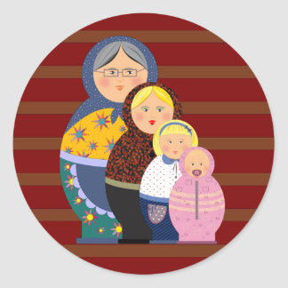 Russian Doll Matryoshka Life Stages Colorful Cute Classic Round Sticker