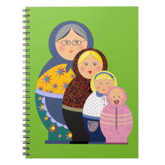 Russian Doll Matryoshka Life Stages Colorful Cute Notebooks