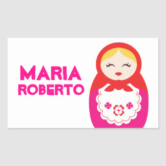 Russian doll name id label sticker