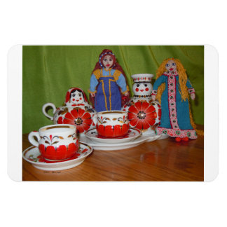 Russian Doll Tea Time Rectangular Photo Magnet