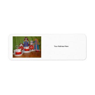 Russian Doll Tea Time Return Address Label