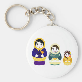 Russian Dolls Basic Round Button Key Ring