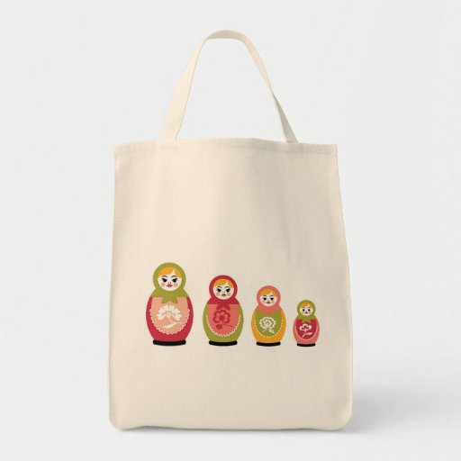 russian dolls grocery tote bag