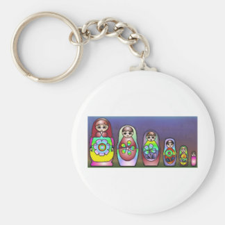 Russian dolls on a row basic round button key ring