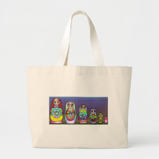 Russian dolls on a row large tote bag