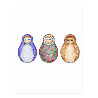 Russian dolls postcard