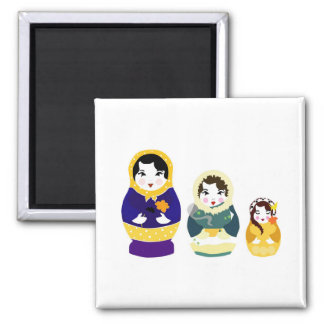 Russian Dolls Square Magnet