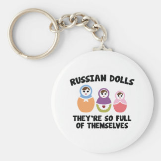 Russian Dolls. They're So Full Of Themselves. Basic Round Button Key Ring