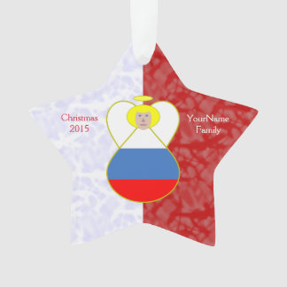 Russian Federation Flag Angel Blond Hair Red White