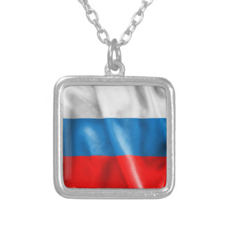 Russian Federation Flag Square Pendant Necklace