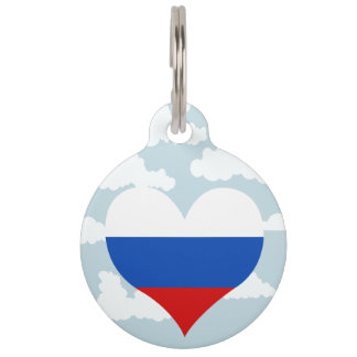 Russian Flag on a cloudy background Pet Tag