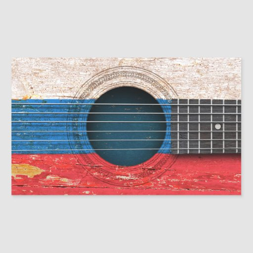 Russian Flag on Old Acoustic Guitar Sticker
