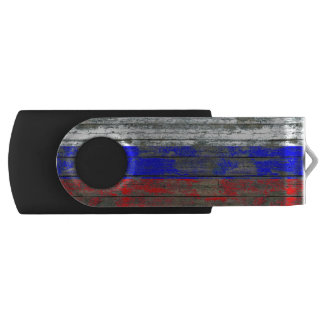 Russian Flag on Rough Wood Boards Effect Swivel USB 2.0 Flash Drive