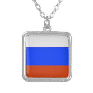 Russian Flag Silver Plated Necklace