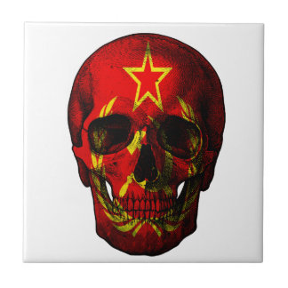 Russian flag skull ceramic tile